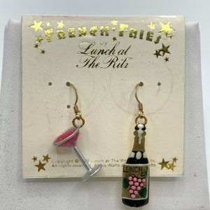 Lunch at the Ritz Earrings Wine Theme 1999 14k GF